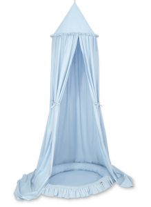 Set: Hanging canopy + Nest with flounce- blue